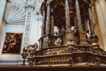SEVILLE, SPAIN- February 2019:Interior Cathedral of Seville -- Cathedral of Saint Mary of the See, Andalusia, Spain