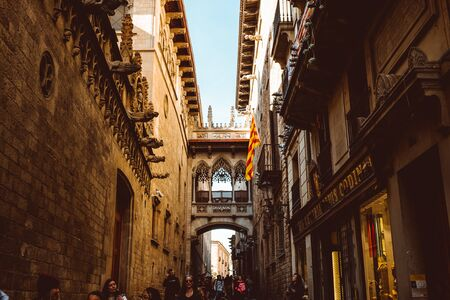 Barri Gothic Quarter and Bridge of Sighs in Barcelona, Catalonia, Spain? Feb 2019