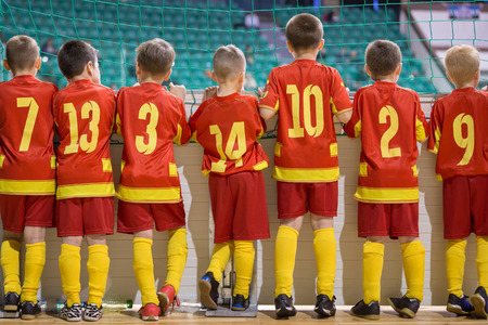 indoor soccer: Football match for children. Training and football soccer tournament
