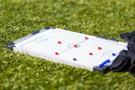 Football Soccer training tactic strategy board Foto de archivo