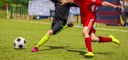 Football match for children. Training and football soccer tournament