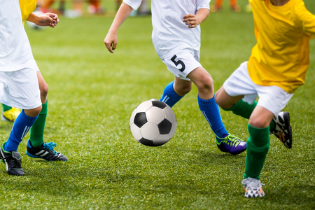 soccer pitch: Football soccer training match for young boys Stock Photo