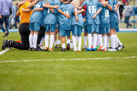 Youth soccer football team gathering Stock Photo