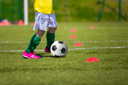 football pitch: Soccer football training session for children