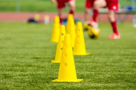 Soccer football equipment; training soccer field Standard-Bild