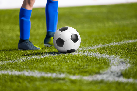 penalty: Soccer ball on the field - shooting a corner