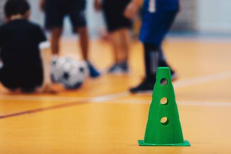 Futsal indoor soccer training field. Kids training soccer indoor 版權商用圖片