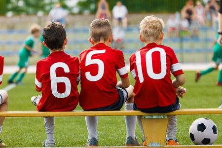Children Friends on a Soccer Team. Group of Kids in a School Sports Soccer Team on Outdoor Football Tournament. Sports Activity for Children