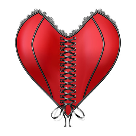 corset: Corset Heart with lacing. Vector, EPS Illustration