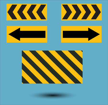hazard stripes: Signpost ahead with the construction.