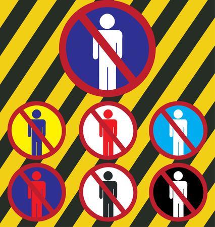 outsiders: Signs warned outsiders not permitted vector background