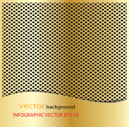 Metal gold dot perforated texture. Background with chrome metal strip  vector background