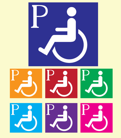 Handicapped parking signs colorful vector background.
