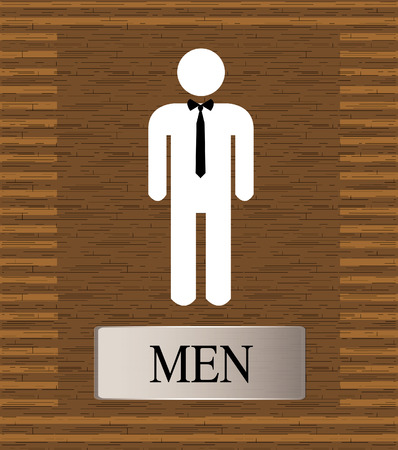 wc sign: toilets WC sign for men on wooden background