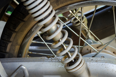 shock absorber: Close up of motorcycle shock absorber.