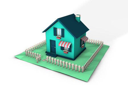 A paperhouse - 3d render Stock Photo