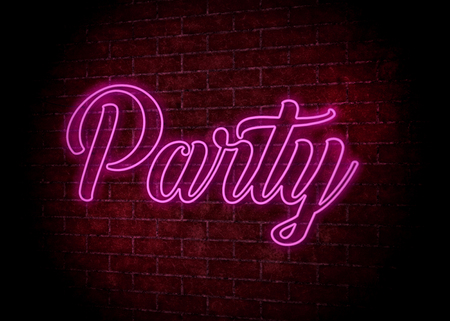 Party signboard neon light on the wall Stock fotó - 88234292