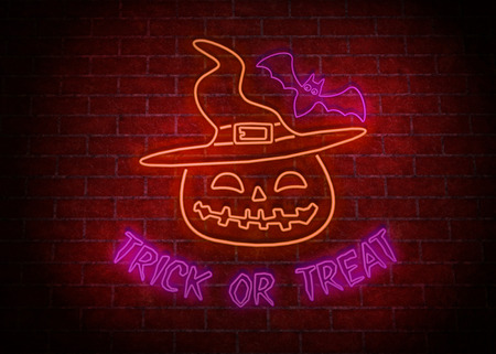 Halloween party signboard neon light on the wall Stock Photo