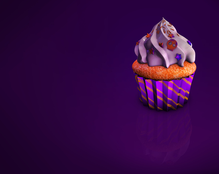 Halloween cupcake with stars on neutral background - 3D rendering