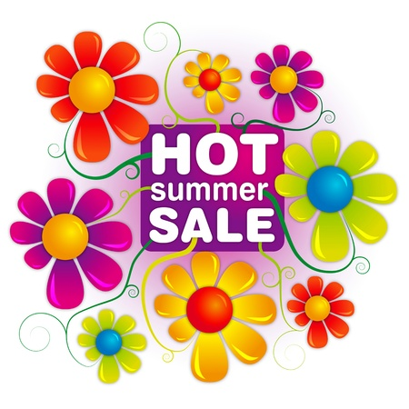 sale sticker: hot summer sale Illustration