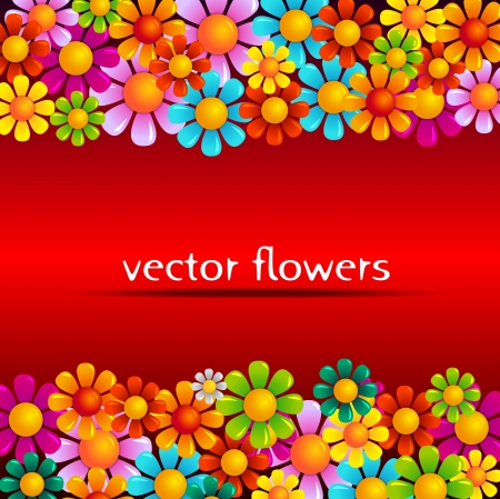 vector summer flowers on red background