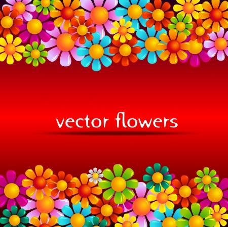 vector summer flowers on red background 免版税图像 - 14978111