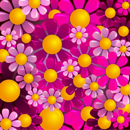 abstract flowers: vector summer flowers
