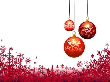 snowflake border: three christmas balls on red background
