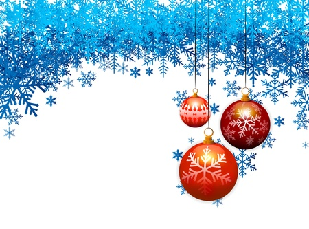 three christmas balls on blue snow flakes background Иллюстрация