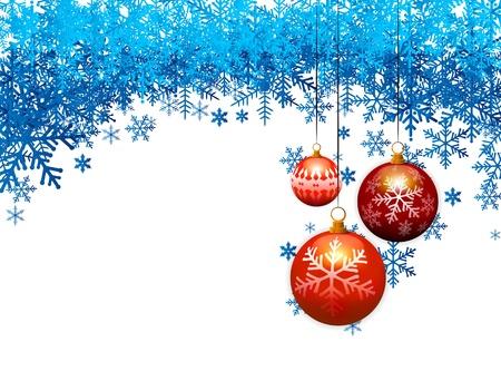 three christmas balls on blue snow flakes background Illustration