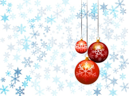 three christmas balls on blue snow flakes background Vector