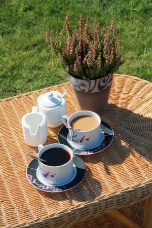 Coffee break in garden photo