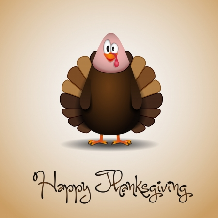 happy feast: Cute cartoon Thanksgiving turkey - vector