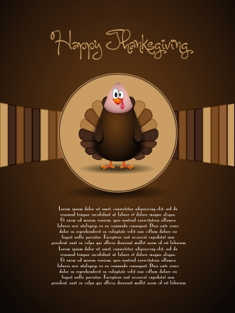 Cute cartoon Thanksgiving turkey - vector Vector