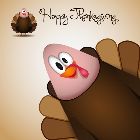 Cute cartoon Thanksgiving turkey - vector Stock Vector - 16478211