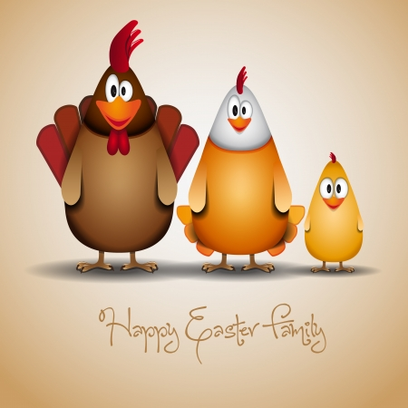 Cute Chicken family Vector