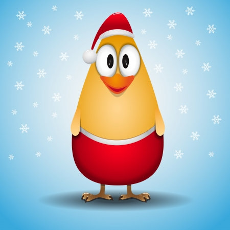 Cute Little Santa chicken Vector
