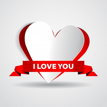 Paper heart - I love you - vector card Stock Vector - 16856042