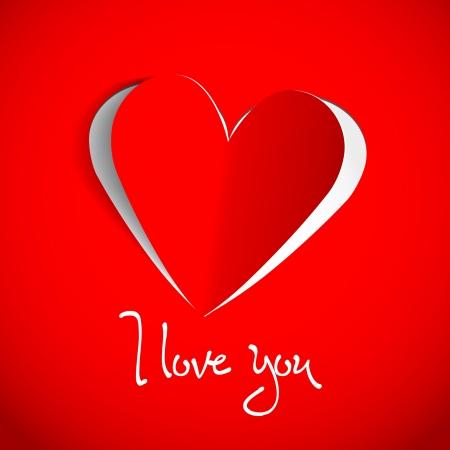 Paper heart - I love you - vector card Stock Vector - 16856028
