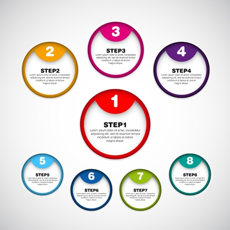 three pointer: Set of eight version - vector paper progress steps for tutorial - circle stickers
