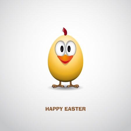chicken and egg: Easter egg with funny chick - Vector Illustrator Illustration
