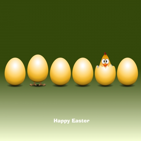 Easter eggs with funny chick - Vector Illustrator Vector