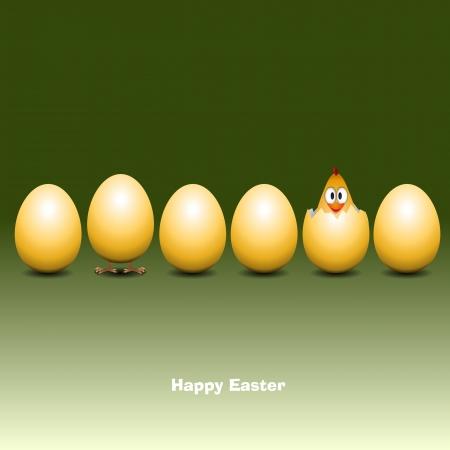 poult: Los huevos de Pascua con el polluelo divertido - Vector Illustrator Vectores
