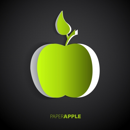 felling: Vector green paper apple card design