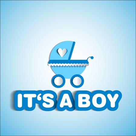 its: Baby card - Its a boy theme - with baby carriage