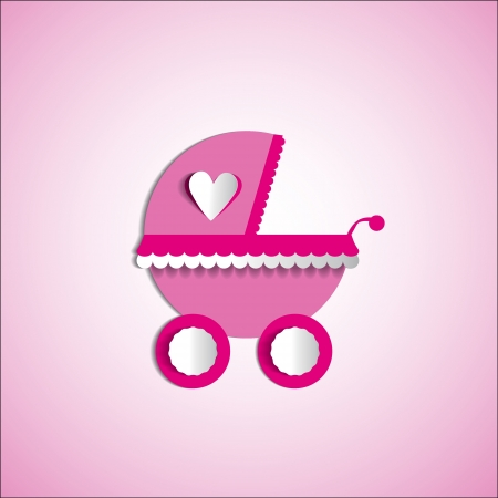 Baby card - Its a girl theme - with baby carriage Vector