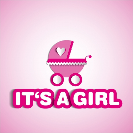 its a girl: Baby card - Its a girl theme - with baby carriage