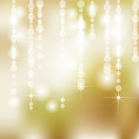 Abstract Golden Holiday Background With Lights and Stars Vector