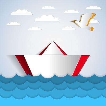 Vektor-Papier-Aufkleber Boot schwimmt auf Wasser mit Papier Papier-Vogel - Abbildung Karte Standard-Bild - 24493521