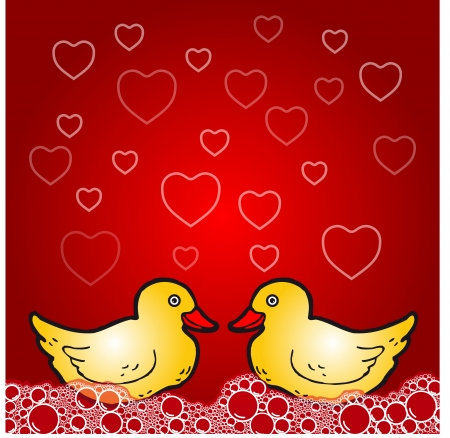 Love theme - duck in bath Vector